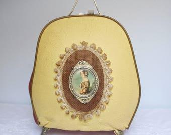 Rare Vintage Faux Leather Teapot Cosy, Teapot Warmer, Portrait Decor, Victorian Age Style