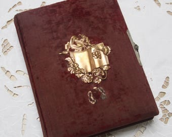 Antique French Photo Album with Metal Closure, Red Velvet Cover, Gold Metal Ornament Decor,