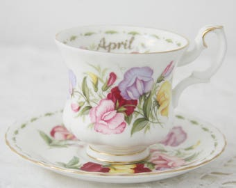 Vintage Royal Albert Bone China 'Flower of the Month' series' 'Sweet Pea' Lady Size Cup and Saucer, April
