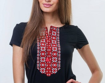 Women's embroidery T-Shirt short sleeve, black-red ornament