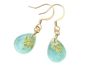 Mint green gold flake earrings - teardrop earrings - mint green earrings - gold flake earrings - dangle earrings - gift for her - bridesmaid