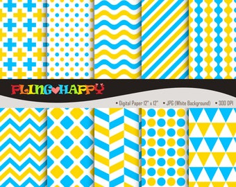 70% OFF Yellow And Blue Digital Papers, Cross/Polka Dot/Wave/Stripe/Chevron Graphics, Personal & Small Commercial Use, Instant Download