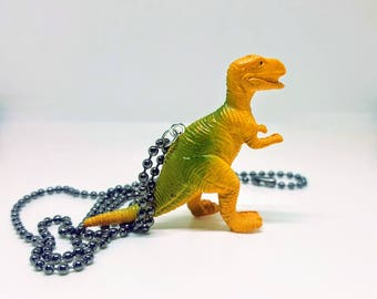 Dinosaur Necklace Gunmetal Ball Chain Yellow T Rex Tyranosaurus Dinosaur Necklace Gift Under 5