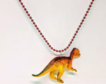 Dinosaur Necklace Red Ball Chain Yellow and Orange Dinosaur Necklace Gift Under 5