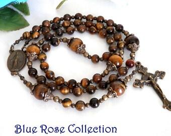 Vintage style Miraculous Medal rosary, tiger's eye gemstone rosary for men and women, Confirmation, sponsor, retirement, heartfelt, etc