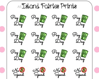 Finance Pay Day No Spend Stickers A5