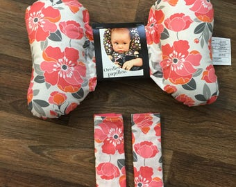 Strap covers coral flowers and Butterfly pillow