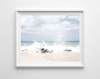 Beach Waves photography, PRINTABLE art, Ocean wall art, Large wall art, Ocean decor, Ocean print, Beach print, Ocean photo, Coastal decor