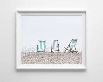 Beach Chairs Photography Printable, Beach Decor, Striped Beach Chairs Print, Ocean Wall Art, Lake Print, Ocean Decor, Cottage Decor