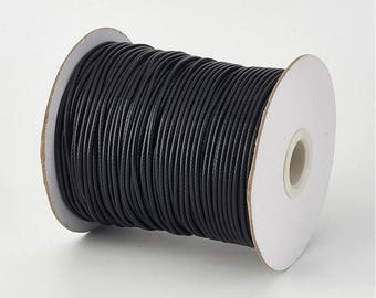 Black 2 mm waxed polyester cord
