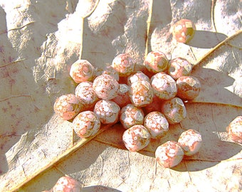 50 beads Bohemian faceted tone caramel amber speckled pink 4 mm