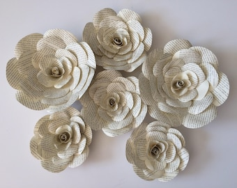 Book page large paper flowers for wedding decor, centerpiece, table decor, isle flowers vintage inspired