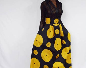 Black and Gold Record African Wax Maxi Skirt,  Long Ankara Skirt, Long African skirt, Black and Gold Maxi Skirt – Made to Order.