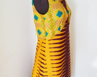 Tangerine and Turquoise A-Line Ankara Dress, Short Cotton Dress, Ladies' Summer Dress, African Wax Dress - Made to Order