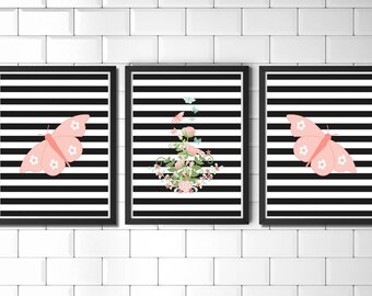 Striped Bouquet Set | Bouquet Flower Print, Floral Bouquet Print, Butterfly Bouquet, Butterfly Striped Art, Butterfly Poster, Spring Insect