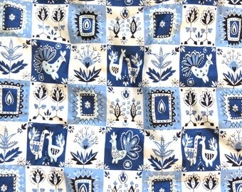 "Vintage 60s WAVERLY Fabric 36""x 3+ yds Blue ""Chalet Swiss"""
