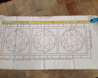 Rebecca's Geometric Rug Hooking Pattern on monks cloth