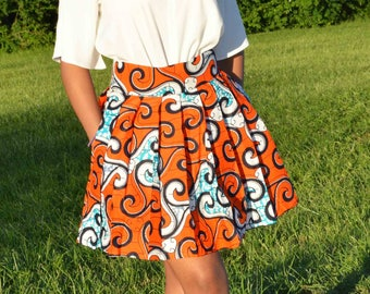 Set top and MIDI skirt in African print fabric