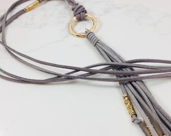 Long gray faux suede/vegan leather tassel necklace // Fast & free shipping