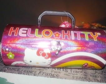 Vintage (c.1997) Sanrio Hello Kitty pink glitter telescopic-shape cosmetic | make up box. Clasp closure, top handle. Original Sanrio tags.