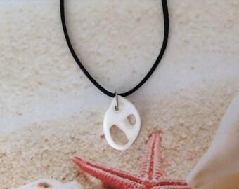 Nautical Genuine Sea Snail Centre Sliced White Shell Black Suede Cord Beach Pendant Necklace Jewellery
