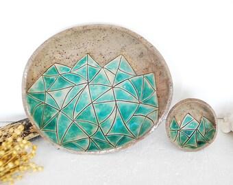CERAMIC BOWLS turquoise blue bowl, ceramic plate, ceramic platter, pottery bowl, trinket dish, table centerpiece, candle holder hostess gift