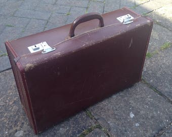 Old vintage 1950's luggage case briefcase hipster retro 1960's 1930's satchel antique rustic shabby chic