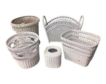 5 Vintage WICKER DECOR LOT trash bin mid century white tiki 50s/60s waste can magazine rack tissue holder bin box storage organization boho