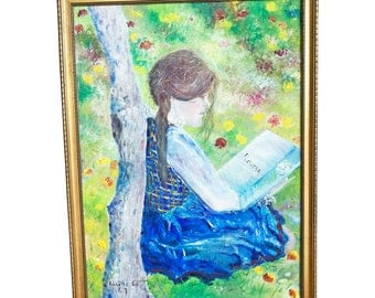 Vintage OIL PAINTING Girl Reading Garden mid century modern signed listed artist Lucille Cohn New York framed renoir monet green portrait