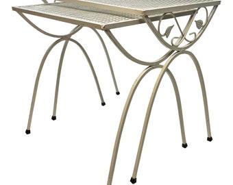 Mid Century Modern NESTING TABLE SET vintage plant stand stacking white side 50s 60s mod retro wrought iron living room woodard salterini