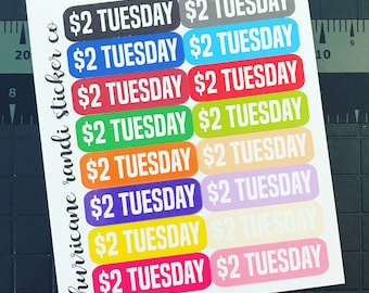 Two Dollar Tuesday Labels