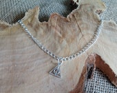 "Harry Potter inspired silver plated deathly hallows charm anklet 9-11"" - ankle bracelet / body jewellery"