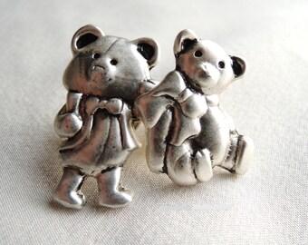 Vintage Tiny Teddy Bear Pair Lapel Pin Set
