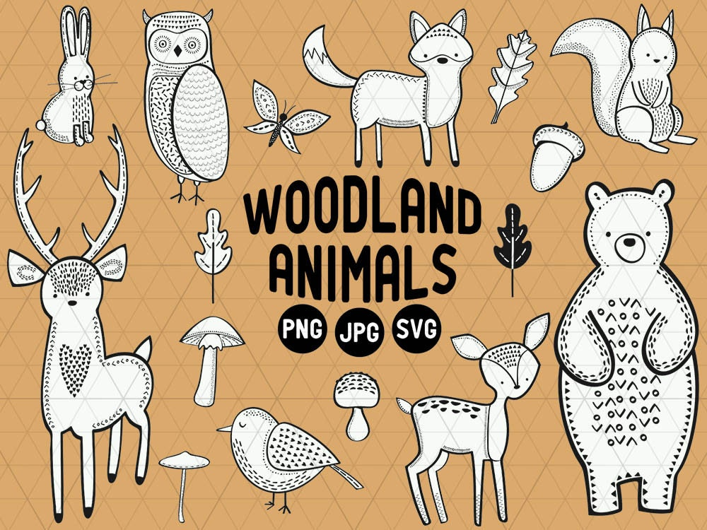 Woodland Animals Clipart Woodland Animals Download Silhouette SVG Cut Files Cricut Svg