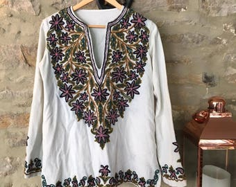 Power to Love' Vintage Flower Power 70s Floral Tunic Top UK Size 10 12 Festival Folk Seventies