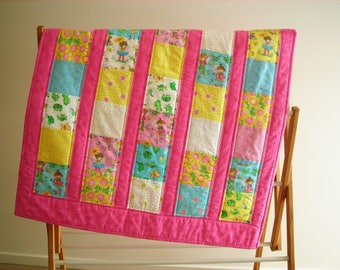 Colourful Girl/Frog print  cot quilt, Play Mat, Cuddly Quilt, Throw, Wall hanger, Lap Quilt, Baby, Toddler, Baby Blanket  *SHIPPING INCLUDED