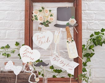 Wedding Party Photo Booth Props - Team Bride, Boho Wedding, Rustic Wedding Photo Prop, Rose Gold , Photo Booth Props, Wedding Activities