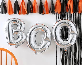 Silver Boo Balloon Bunting  -Pumpkin Party- NO HELIUM NEEDED! Halloween Party | Halloween Decoration | Halloween Bunting Decor | Beetlejuice