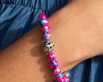 Pink Marbled Bead Bracelet