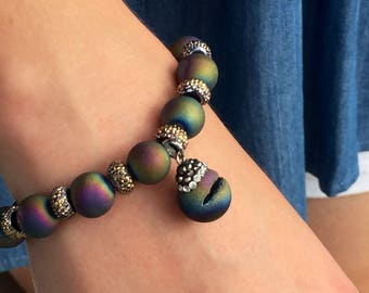Multicolored Bead Bracelet with Charm