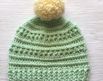 Mint green Pom Pom Beanie textured crochet hat for women ponytail adult crochet hat