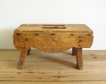 Vintage wooden antique step stool foot stool primitive rustic.Bed table. Small side table & Vintage step stool   Etsy islam-shia.org