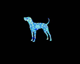 Coon Dog patterned vinyl decal in many prints and sizes! Blue Tick, Redbone Coonhound