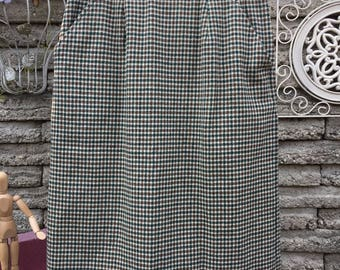 Vintage 1970's Wool Check Plaid Skirt *  Size XS