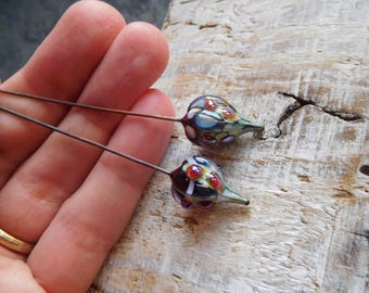 Lampwork headpins, tribal charms, beads on stems of copper, amber, white, handmade.