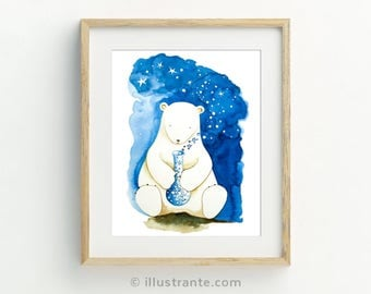 Children's art print, polar bear nursery, polar bear art, polar bear print, kids wall art, kids room decor, whimsical prints, nursery prints