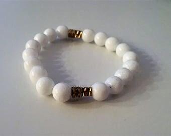 Gold and White Jade Bracelet