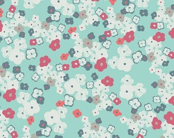 Love Notes Anthro- Art Gallery Fabrics Chromatics - Mint Green and White floral quilt cotton - CHR-1301