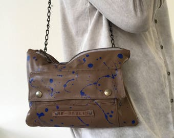 Chocolate brown soft leather purse, splattered blue painted crossbody bag, shoulder bag with chain strap
