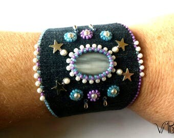"Embroidered cuff ""Constellation"", Eye-cat-stone, recycled jeans"